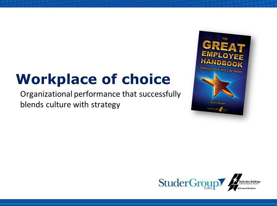 Workplace of choice Organizational performance that successfully blends culture with strategy.