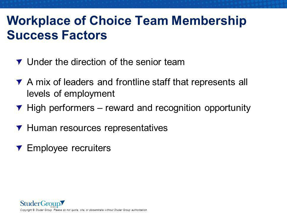 Workplace of Choice Team Membership Success Factors