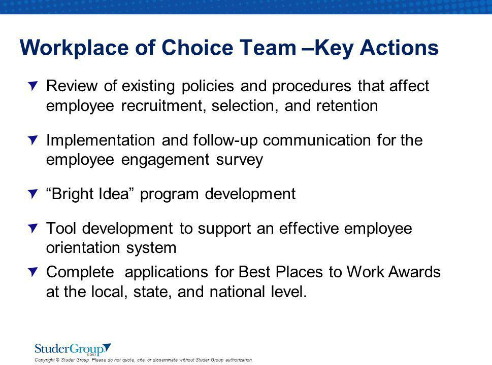 Workplace of Choice Team –Key Actions