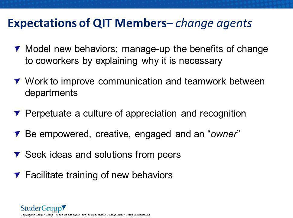 Expectations of QIT Members– change agents