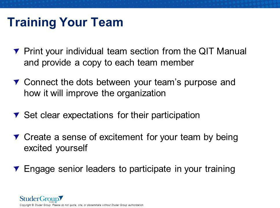 Training Your Team Print your individual team section from the QIT Manual and provide a copy to each team member.