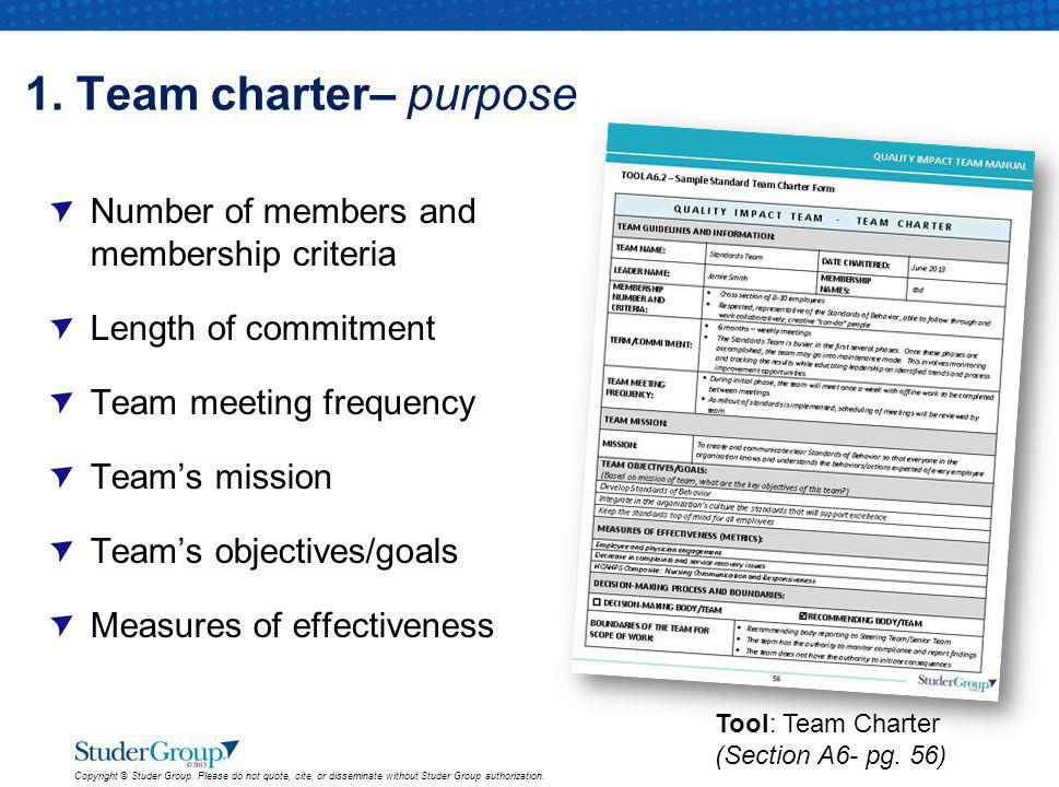 1. Team charter– purpose Number of members and membership criteria