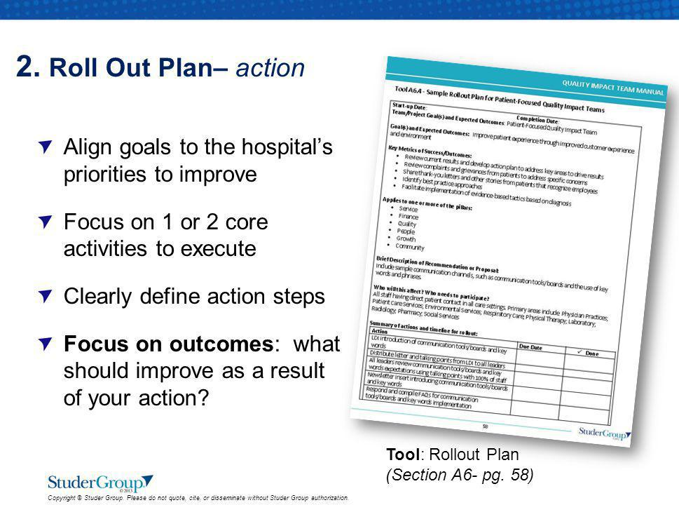 2. Roll Out Plan– action Align goals to the hospital's priorities to improve. Focus on 1 or 2 core activities to execute.