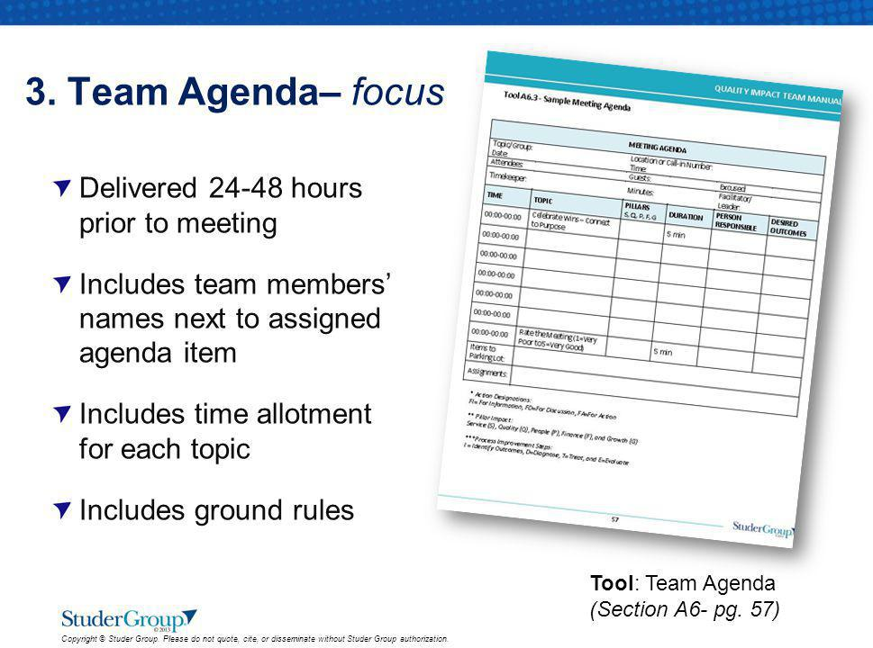 3. Team Agenda– focus Delivered 24-48 hours prior to meeting