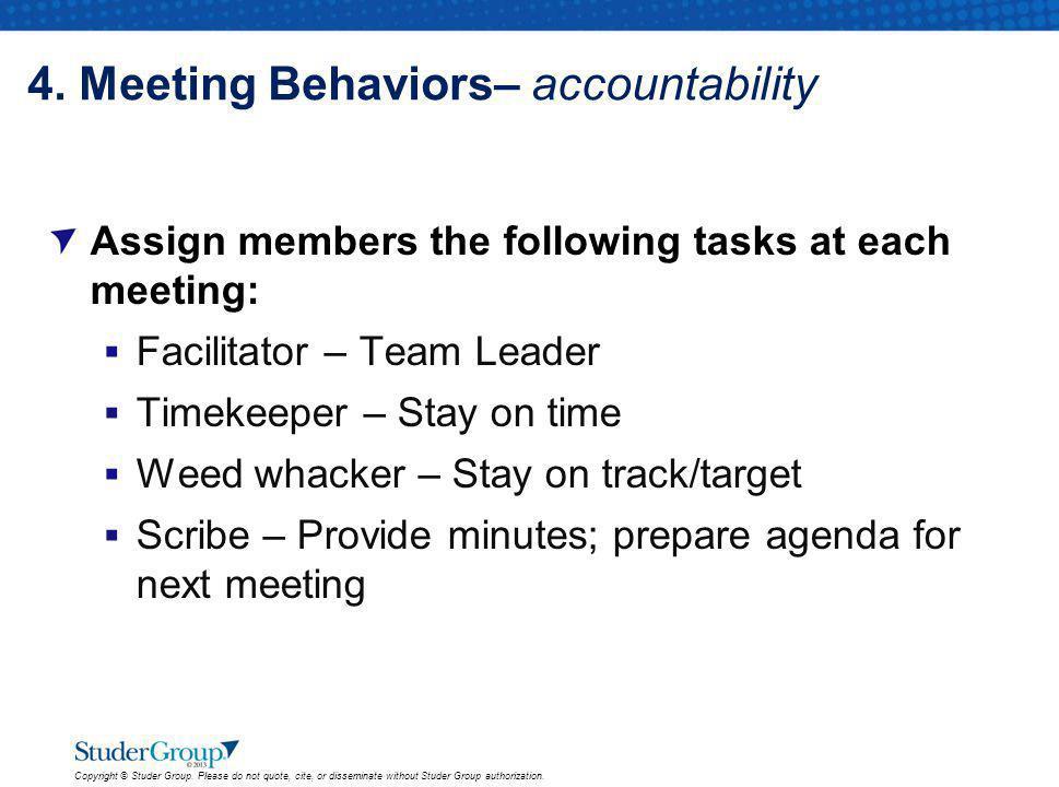 4. Meeting Behaviors– accountability