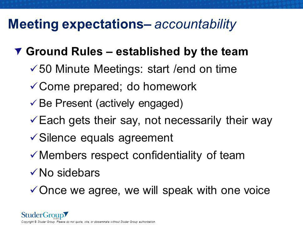 Meeting expectations– accountability