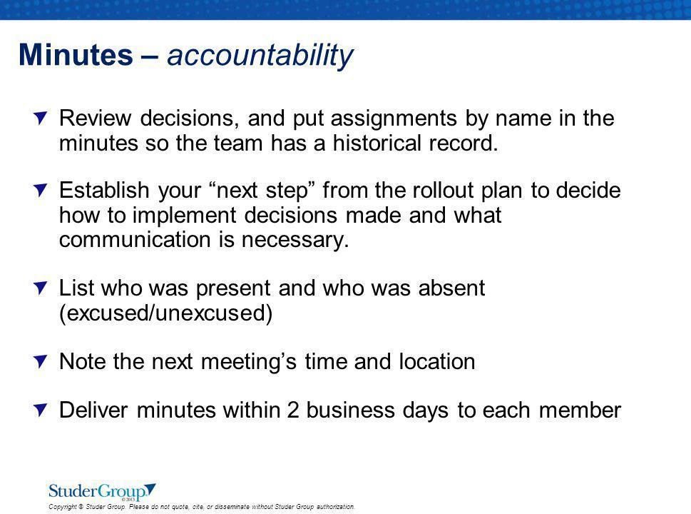 Minutes – accountability