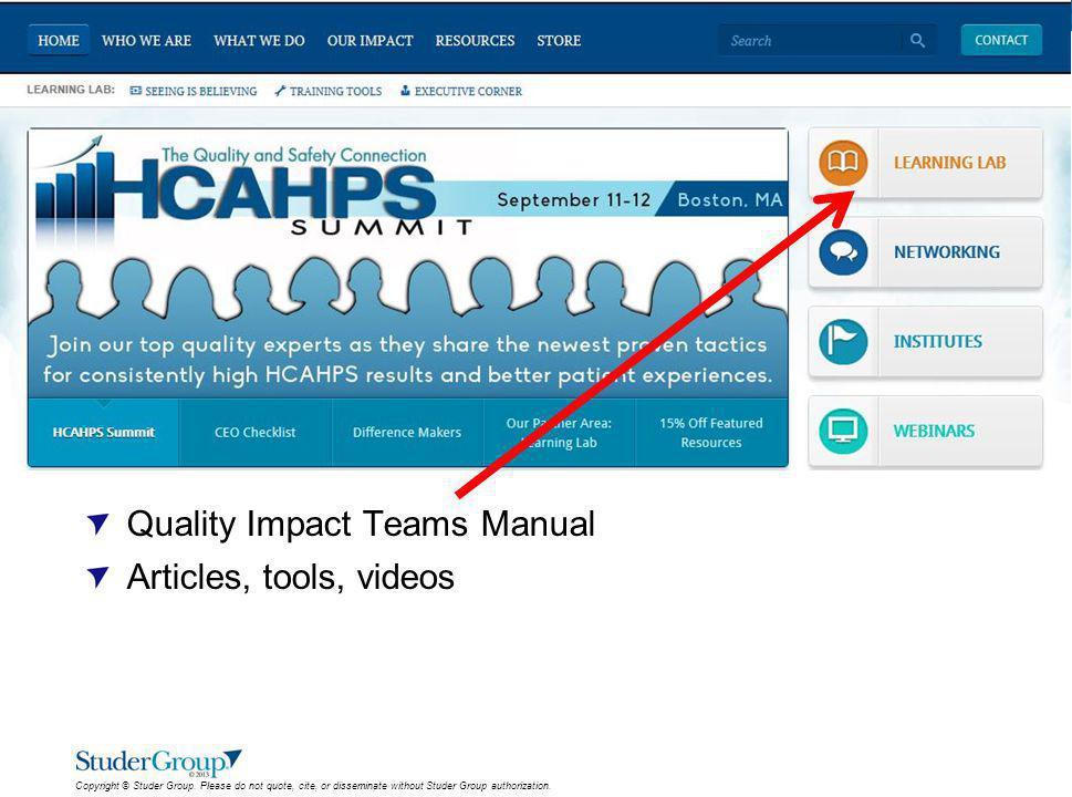 Quality Impact Teams Manual Articles, tools, videos