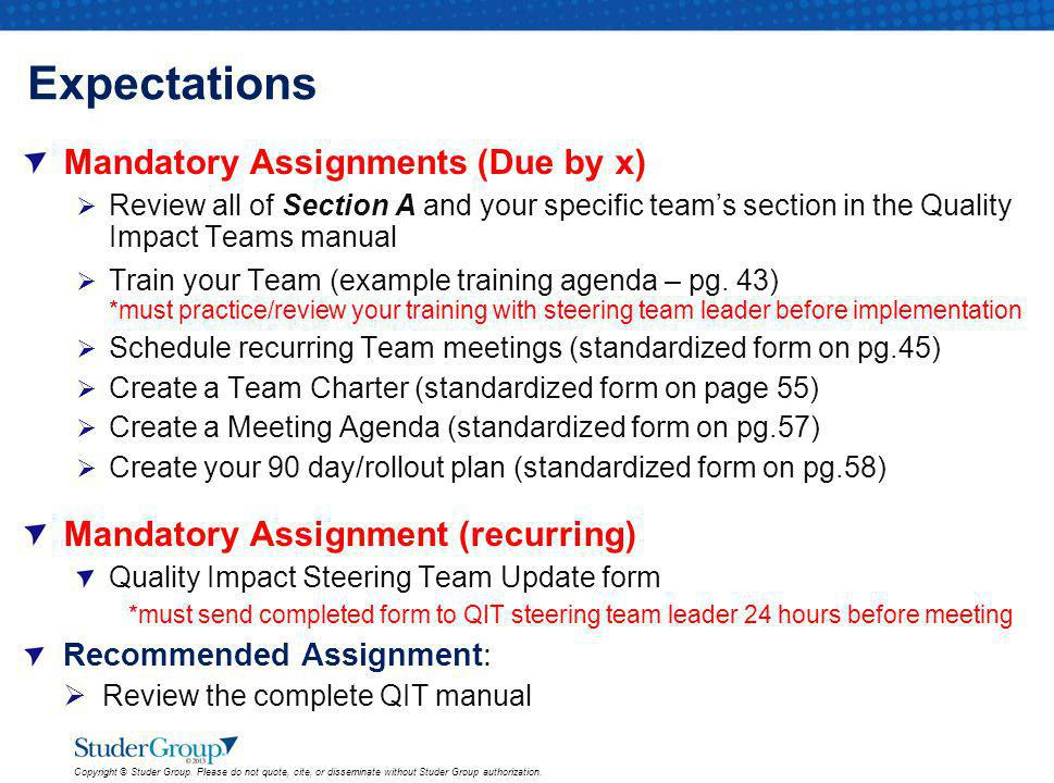 Expectations Mandatory Assignments (Due by x)
