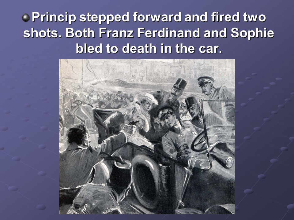 Princip stepped forward and fired two shots