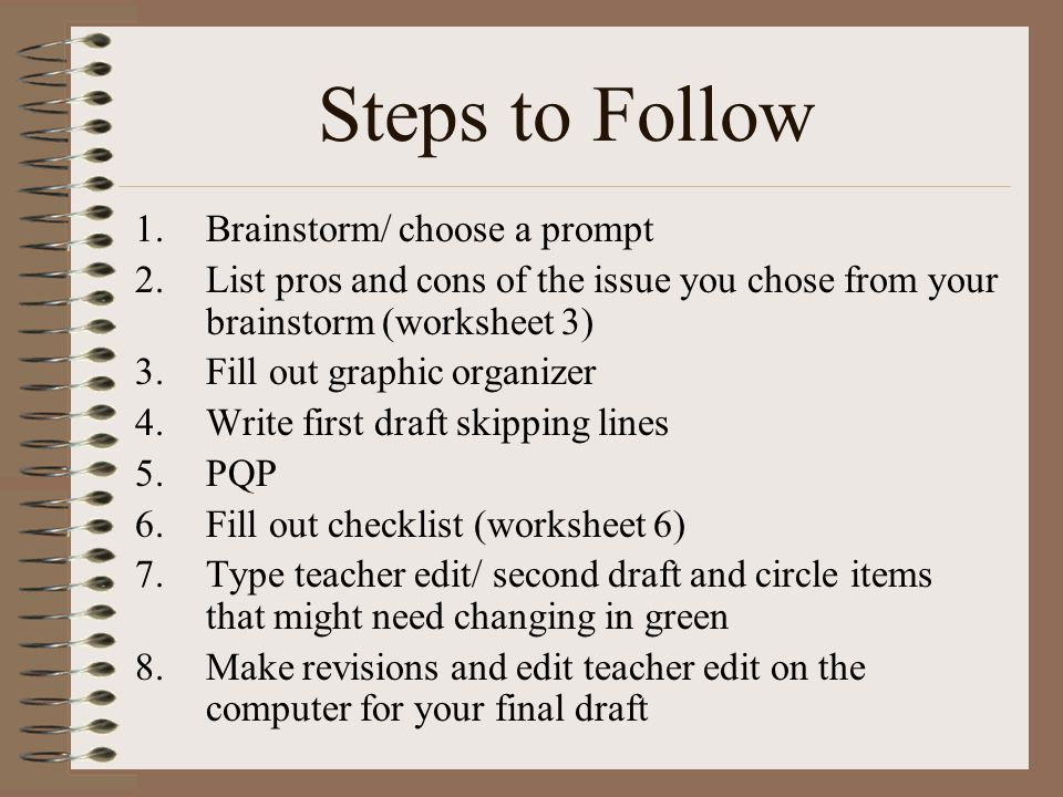 Steps to Follow Brainstorm/ choose a prompt