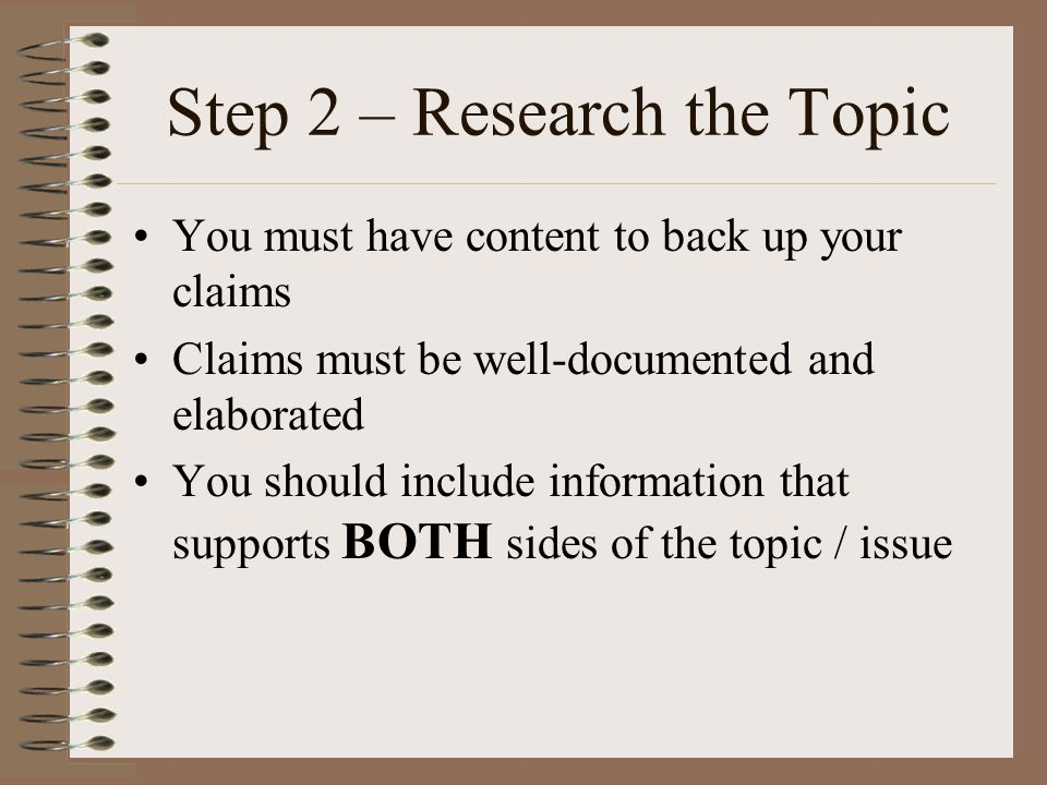 Step 2 – Research the Topic