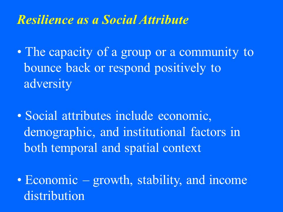 Resilience as a Social Attribute