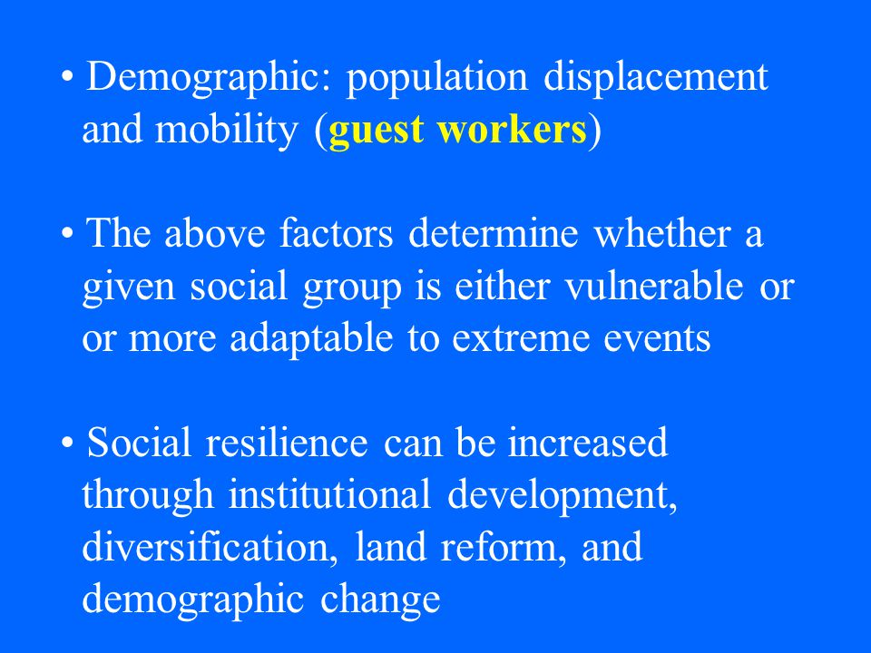 Demographic: population displacement