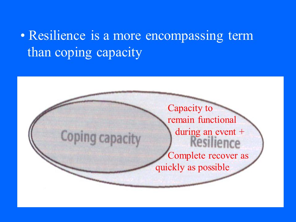 Resilience is a more encompassing term than coping capacity
