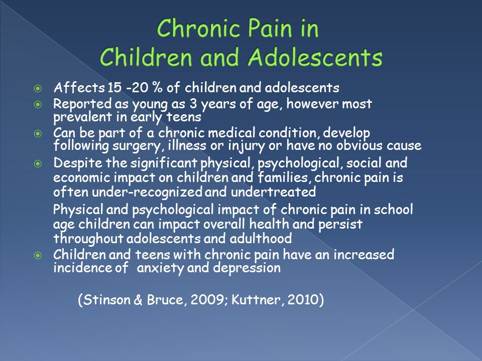 Chronic Pain in Children and Adolescents