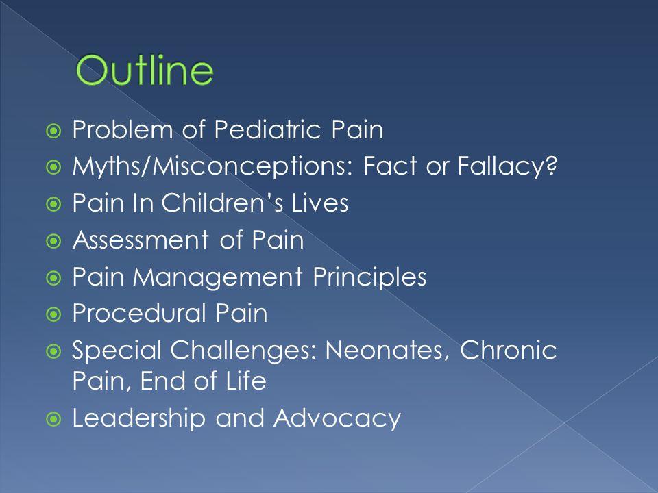 Outline Problem of Pediatric Pain