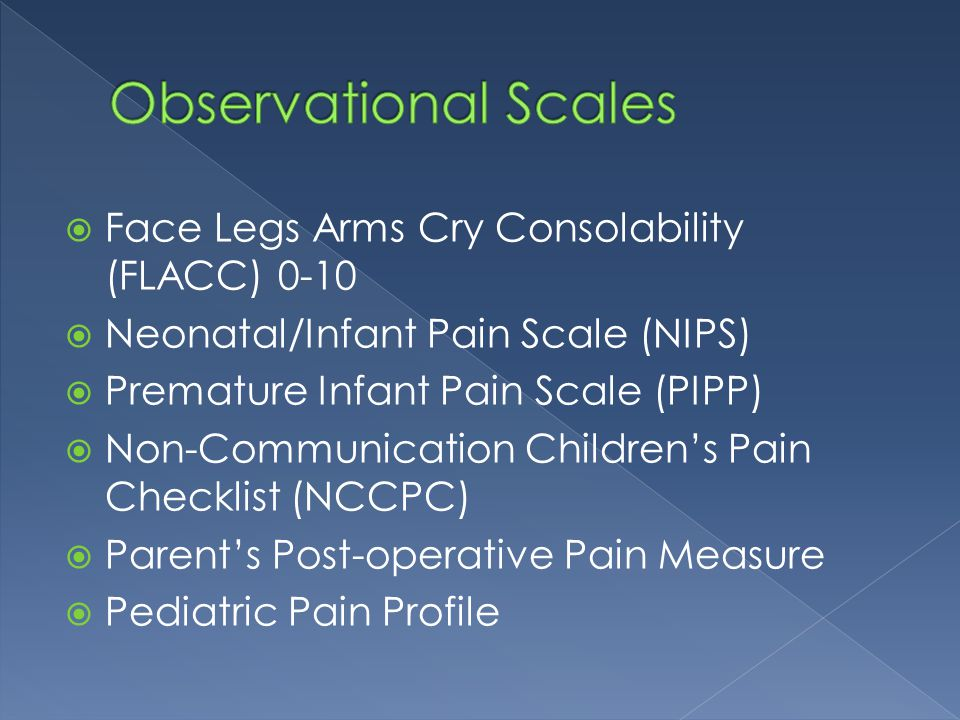 Observational Scales Face Legs Arms Cry Consolability (FLACC) 0-10