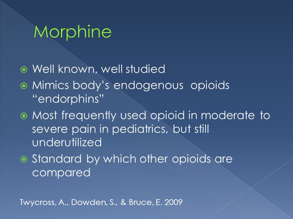 Morphine Well known, well studied