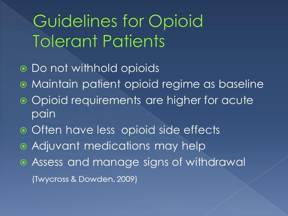 Guidelines for Opioid Tolerant Patients