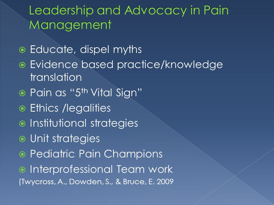 Leadership and Advocacy in Pain Management