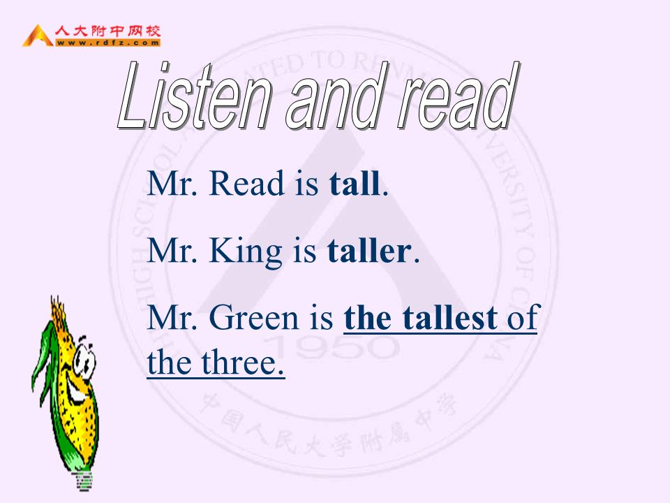 Mr. Green is the tallest of the three.