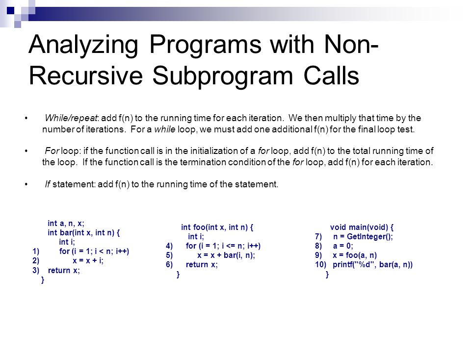 Analyzing Programs with Non-Recursive Subprogram Calls