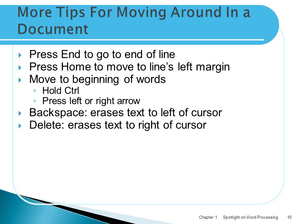 More Tips For Moving Around In a Document