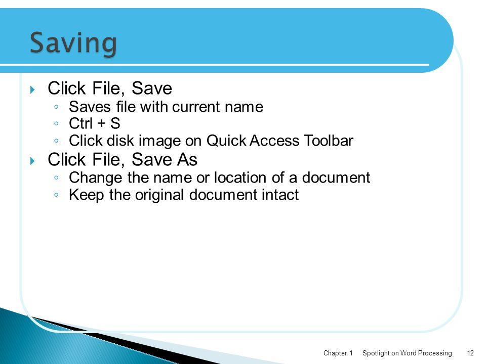 Saving Click File, Save Click File, Save As