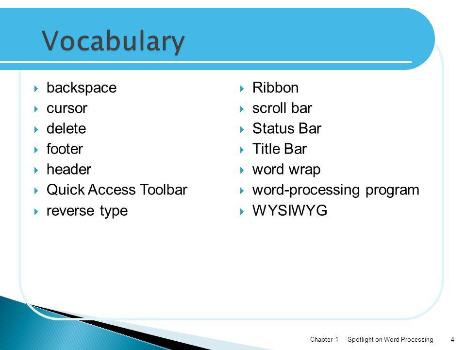 Vocabulary backspace cursor delete footer header Quick Access Toolbar