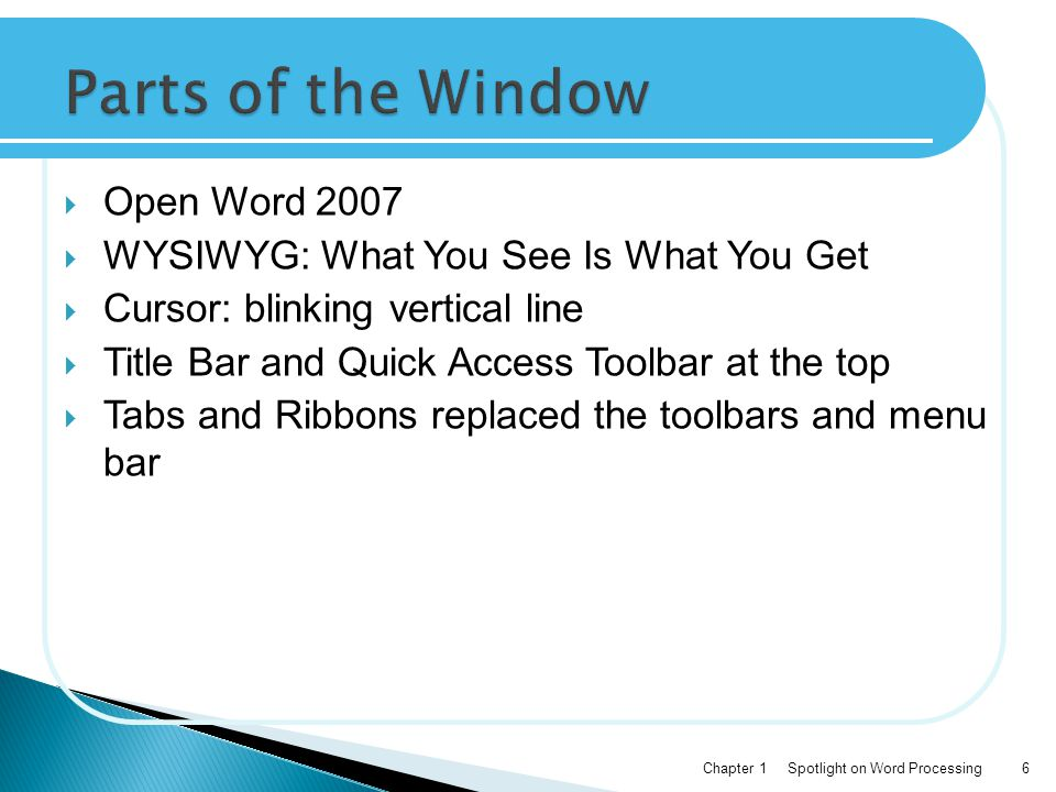 Parts of the Window Open Word 2007