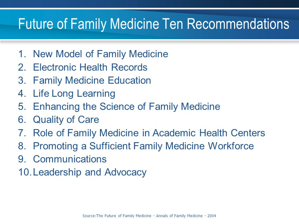 Future of Family Medicine Ten Recommendations
