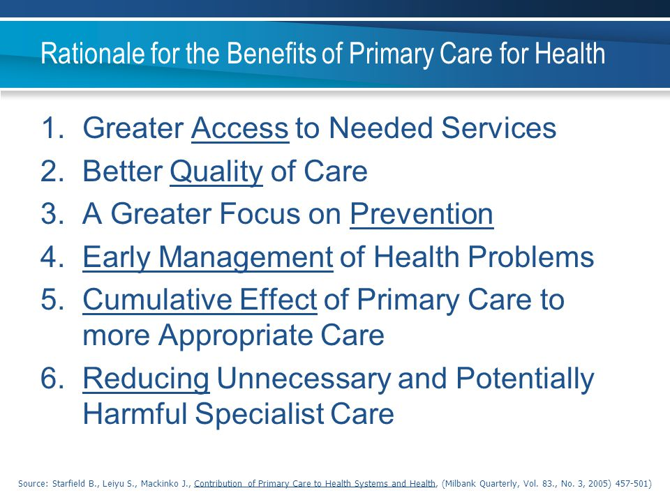 Rationale for the Benefits of Primary Care for Health