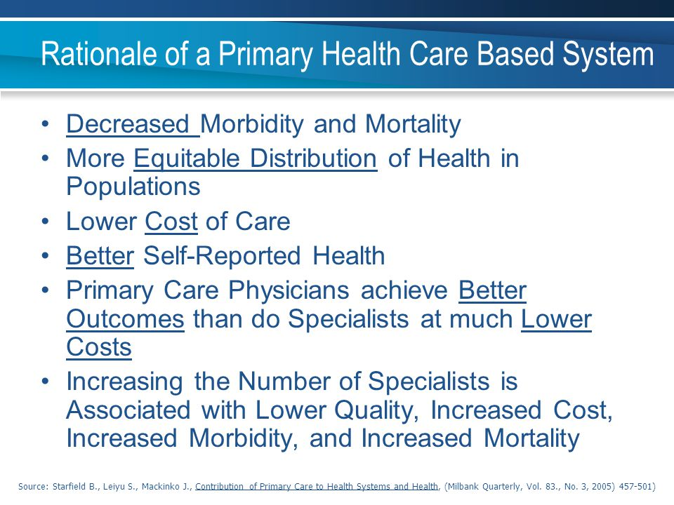 Rationale of a Primary Health Care Based System