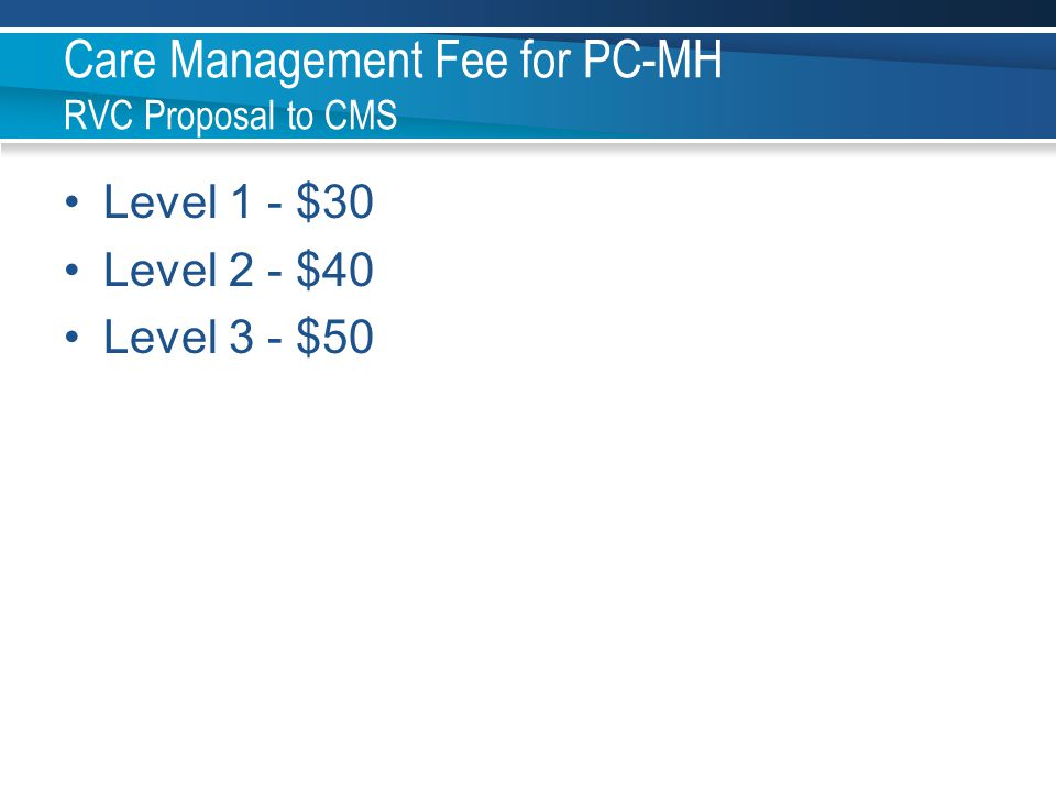 Care Management Fee for PC-MH RVC Proposal to CMS