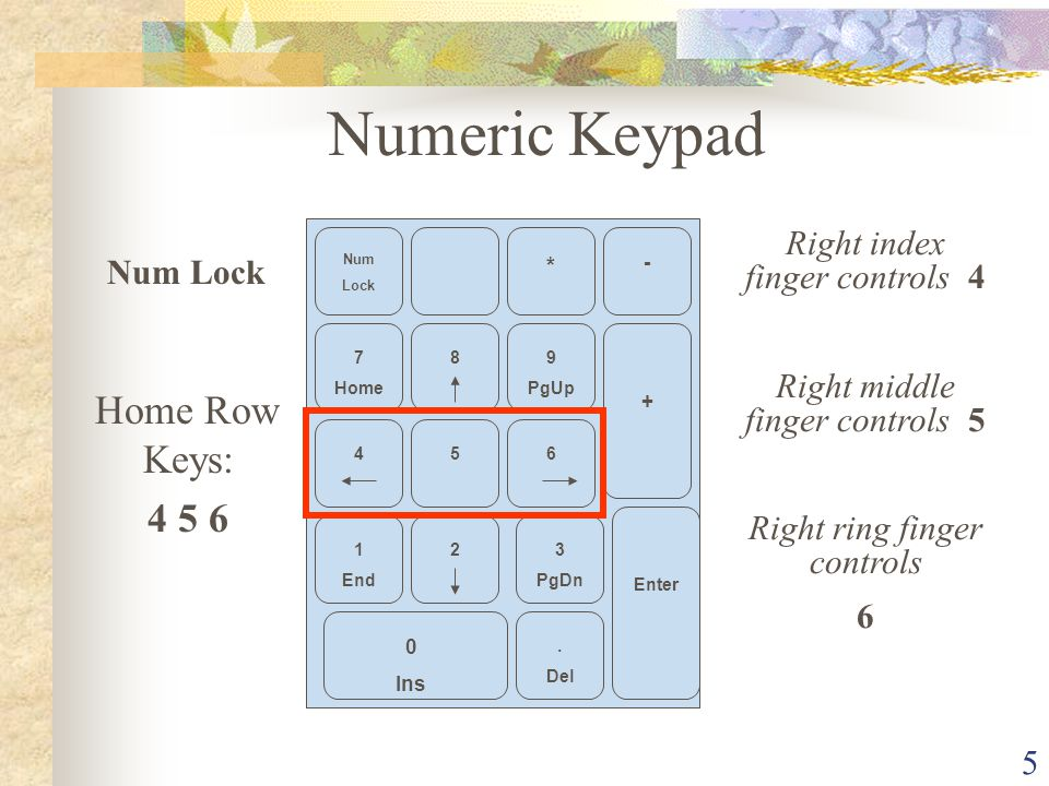 Numeric Keypad Home Row Keys: 4 5 6 Right index finger controls 4