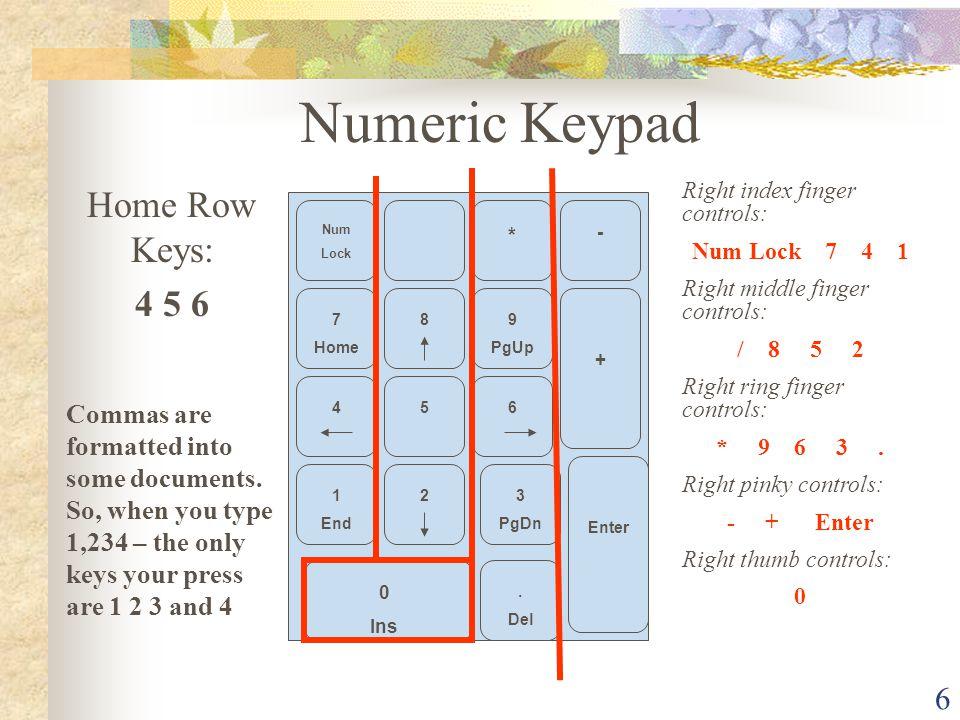 Numeric Keypad Home Row Keys: 4 5 6