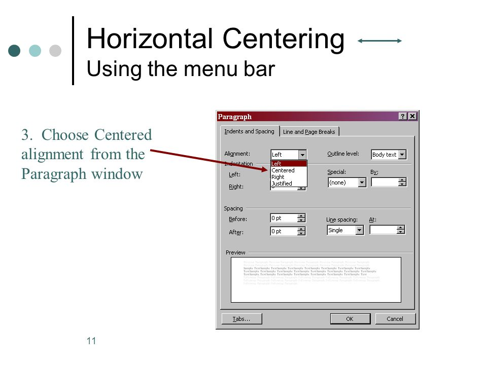 Horizontal Centering Using the menu bar
