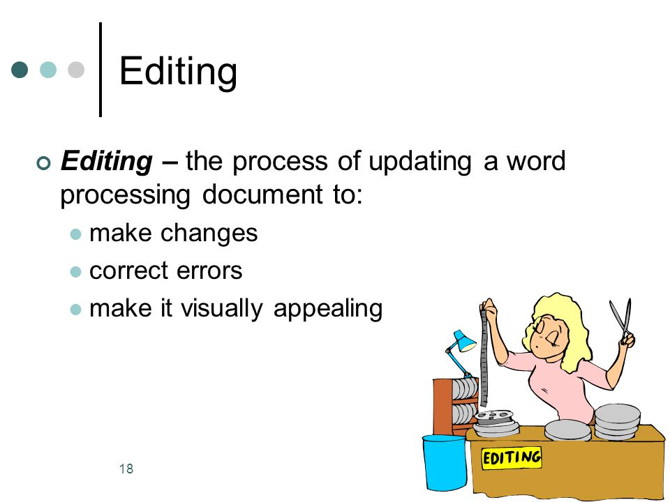 Editing Editing – the process of updating a word processing document to: make changes. correct errors.