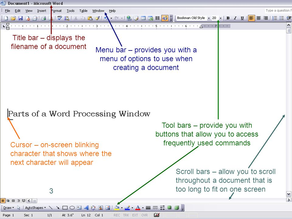 Title bar – displays the filename of a document