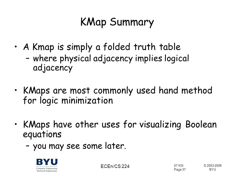 KMap Summary A Kmap is simply a folded truth table