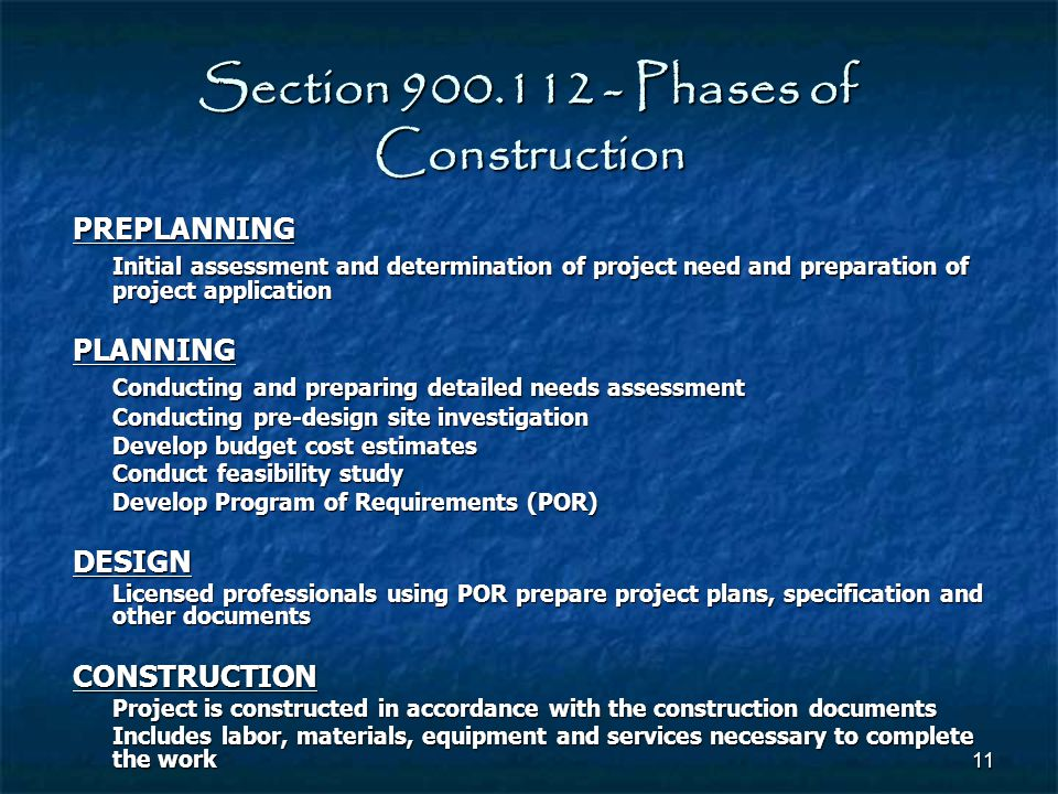 Section 900.112 - Phases of Construction
