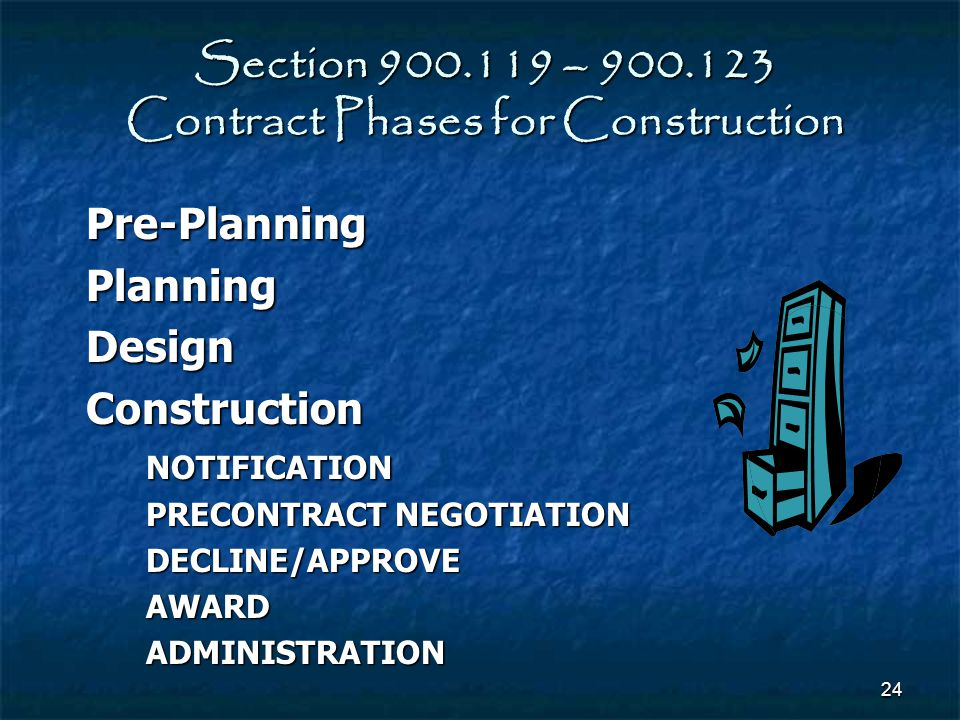 Section 900.119 – 900.123 Contract Phases for Construction