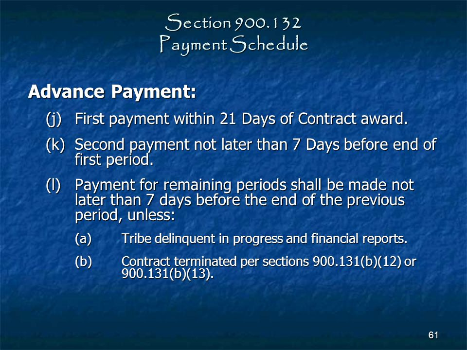 Section 900.132 Payment Schedule