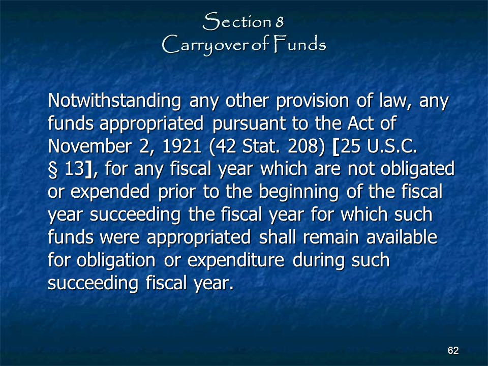 Section 8 Carryover of Funds