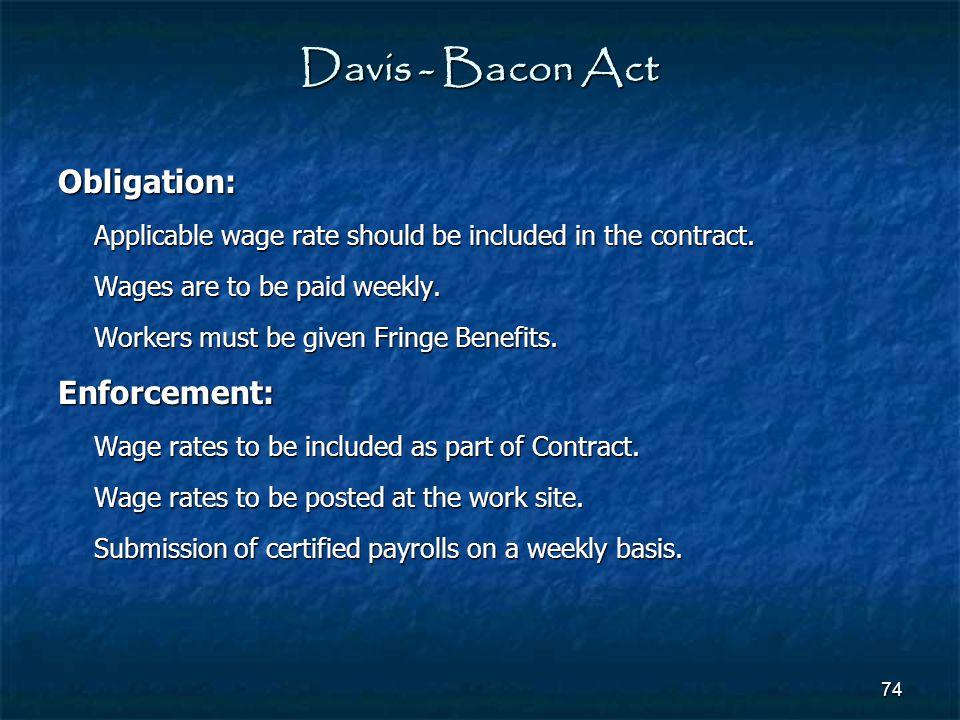 Davis - Bacon Act Obligation: Enforcement: