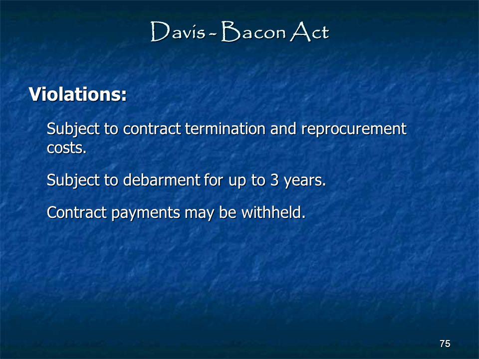 Davis - Bacon Act Violations: