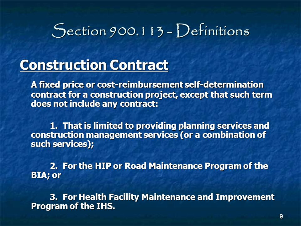 Section 900.113 - Definitions Construction Contract