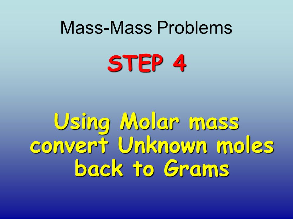 Using Molar mass convert Unknown moles back to Grams