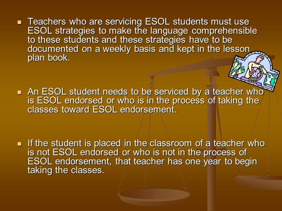 Teachers who are servicing ESOL students must use ESOL strategies to make the language comprehensible to these students and these strategies have to be documented on a weekly basis and kept in the lesson plan book.